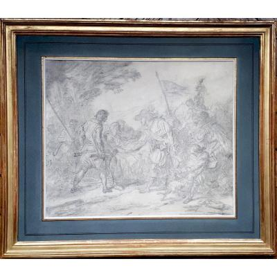 "Vincent François-andré (1746-1816) ""henri IV And Sully Wounded"" Drawing/black Chalk, Frame 19th"