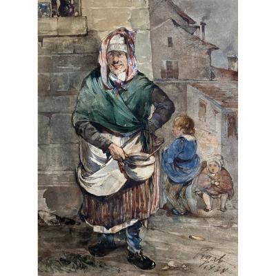 """PIGAL Jean Edmé (1798-1872) """"Scène de rue"""" Aquarelle, signé et daté"""