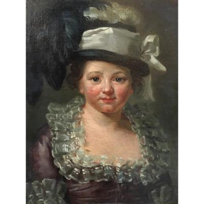 "French School 18th Century ""little Girl With A Hat"" Oil On Canvas"