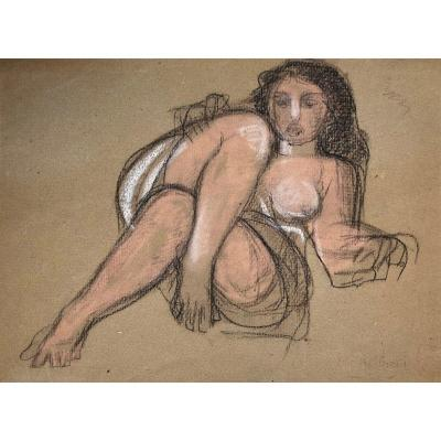 "AndrÉÏ René (1906-1987) ""seated Naked Woman"" Pastel Drawing, Signed"