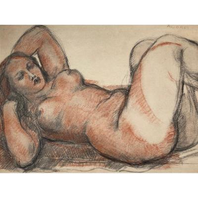 "AndrÉÏ René (1906-1987) ""reclining Female Nude"" Drawing/black Pencil And Red Chalk, Signed"