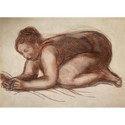 "AndrÉÏ René (1906-1987) ""kneeling Woman"" Drawing/brown Pencil And Red Pencil, Signed"