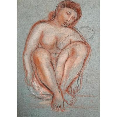 "AndrÉÏ René (1906-1987) ""seated Woman"" Drawing/black Pencil, Red Chalk And White Chalk, Signed"
