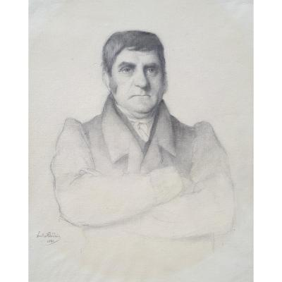 "Flandrin Paul (1811-1902) ""portrait Of A Man"" Drawing In Black Pencil, Signed And Dated"