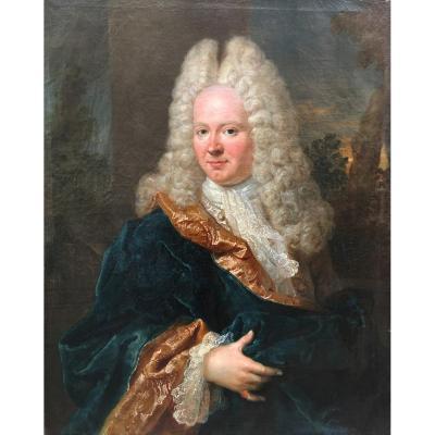 """OUDRY Jean-Baptiste (1686-1755) """"Portrait présumé de M. Ponchon"""" Huile/toile, signé, daté,Cadre"""