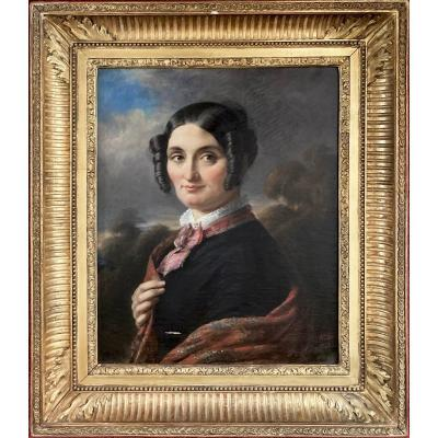 """COLIN Alexandre Marie (1798-1875) Ami de DELACROIX """"Portrait de femme"""" Huile/toile, signé, daté"""