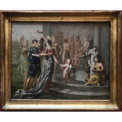 """French School, 1800 """"the Coronation In The Antique"""" Oil/on Paper Mounted On Panel, Frame 18th"""