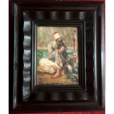 "Signorini Giuseppe (1857-1932) ""an Oriental"" Oil On Panel, Signed, Frame Late 19th"