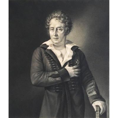 """AMANS Jacques (1801-1888), Ecole Américaine """"Portrait d'homme"""" Dessin/crayon noir,signé et daté"""