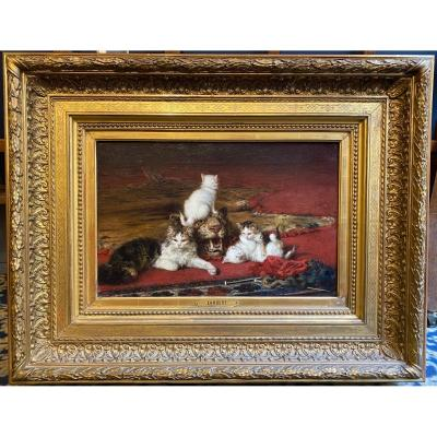 "Lambert Louis-eugène (1825-1900) ""cats & Tiger Head"" Oil/canvas,signed,beautiful Original Frame"