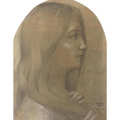 """SEON Alexandre (1855-1917) """"La toilette""""Dessin/Crayon noir,craie blanche,signé,annoté,Cadre 18e"""