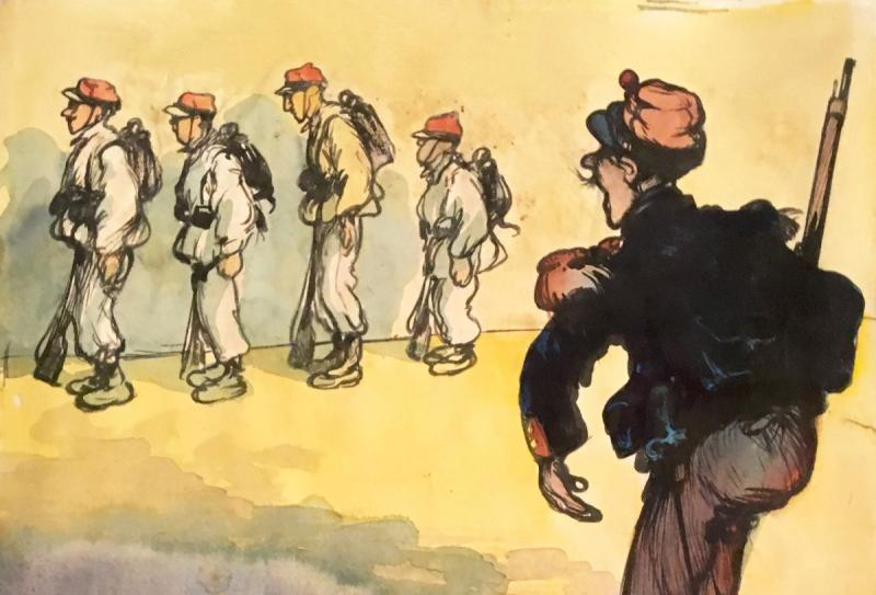 """Poulbot Francisque (1879-1946) """"military"""" Drawing/ink, Watercolor, Signed And Annotated-photo-2"""