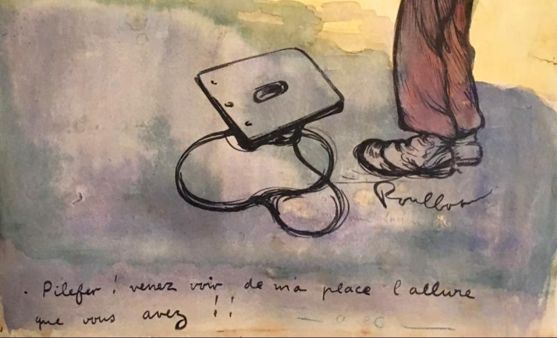 """Poulbot Francisque (1879-1946) """"military"""" Drawing/ink, Watercolor, Signed And Annotated-photo-3"""