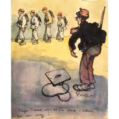 """POULBOT Francisque (1879-1946) """"Militaires"""" Dessin/Encre, aquarelle, signé et annoté"""