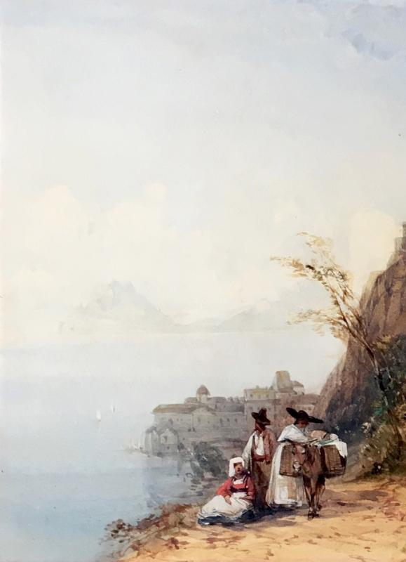 """Callow William (1812-1908) English School, """"landscape Of Italy"""" Watercolor, Signed, Frame Circa 1900-photo-2"""