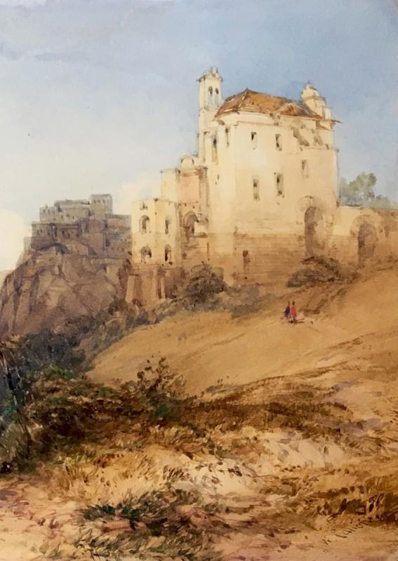 """Callow William (1812-1908) English School, """"landscape Of Italy"""" Watercolor, Signed, Frame Circa 1900-photo-3"""
