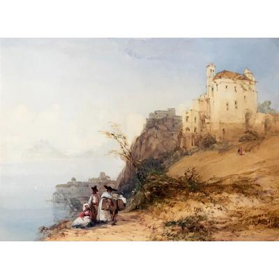 "CALLOW William (1812-1908) Ecole Anglaise,""Paysage d'Italie"" Aquarelle, signée, Cadre vers 1900"