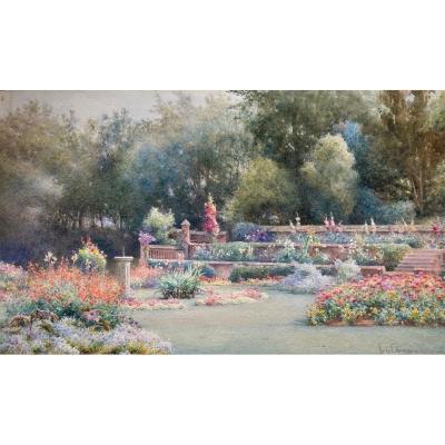 """Harry E. James (Actif entre 1888 et 1902) Ecole Anglaise """"Un jardin à Bath"""" Aquarelle, signé"""