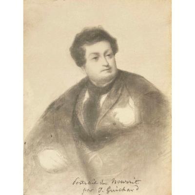 """GUICHARD Joseph (1806-1880) Elève d'INGRES""""Portrait d'Adolphe NOURRIT, Ténor""""Dessin/Crayon noir"""