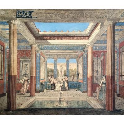 """MAZOIS François (1783-1826) """"Villa Pompéïenne et personnages"""" Dessin/Plume, aquarelle, Annoté"""
