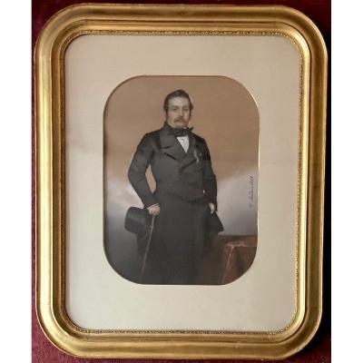 """SARDOU Honoré Charles (1806-1872) """"Portrait d'homme au chapeau"""" Pastel, signé et daté,Cadre 19e"""
