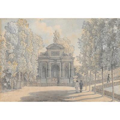 """Vauzelle Jean-lubin (1776-1837) """"médicis Fountain,jardin Of Luxembourg"""" Drawing/pen, Watercolor"""
