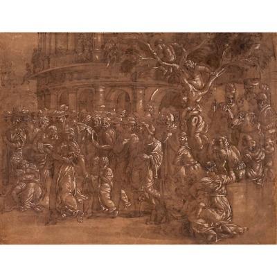 """Italian School 16th Century """"triumph Of Scipio & Climb To Colosseum""""drawing/pen, Wash, G.romano"""