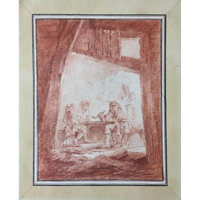"""Pernet Alexandre (born In 1763) """"interior Of A Tavern"""" Drawing/red Chalk, Old Mounting, Signed"""