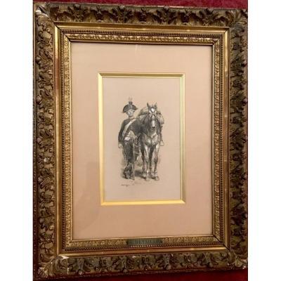 "Detaille Edouard (1848-1912) ""french Hunter On Horseback 1789"" Drawing/pen, Gray Wash, Signed"