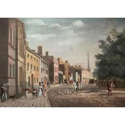 """English Or American School 19th """"street Scene No2"""" Gouache, Frame, Label On The Back"""