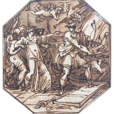 """Giani Felice (1758-1823) Attributed To """"mythological Subject"""" Drawing / Pen And Brown Wash"""