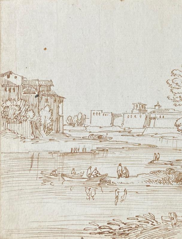 """Busiri Giovanni Battista (1698-1757)""""landscape Animated/the River""""drawing/pen,stamp Sacchetti-photo-2"""