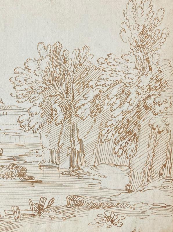 """Busiri Giovanni Battista (1698-1757)""""landscape Animated/the River""""drawing/pen,stamp Sacchetti-photo-3"""