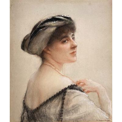 """Dagnan-bouveret Pascal (1852-1929) """"portrait Of An Elegant"""" Pastel, Signed And Dated, 20th Frame"""