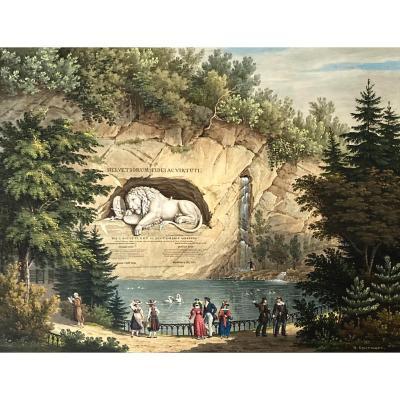 "Oppermann Wilhem Ulrich (1786-1852) Swiss School ""the Lion Of Lucerne"" Watercolor, Signed"