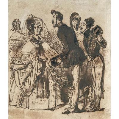 "Gerard Jean Ignace Isidore(1803-1847) Said Grandville""characters"" Drawing/pen, Brown Wash,stamp"