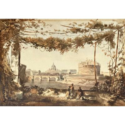 """French School Circa 1830 """"view Of Rome"""" Watercolor"""