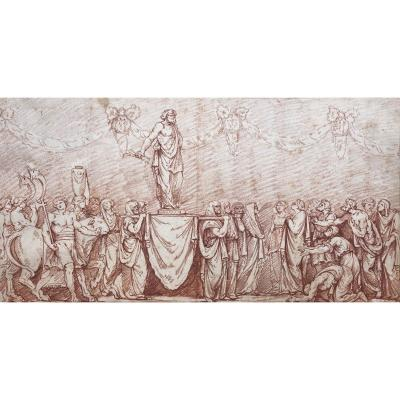 """18th French School """"jupiter Carried In Triumph"""" Drawing In Red Chalk"""