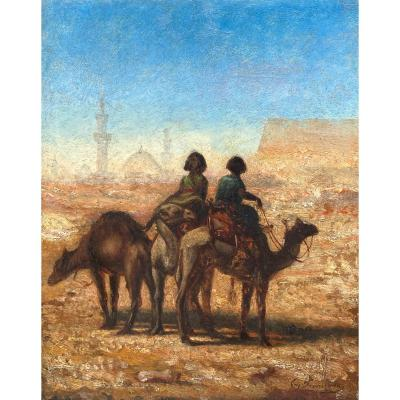 """Fromentin Eugène (1820-1876) """"characters And Camels"""" Oil/panel, Signed, Dated, 19th Frame"""