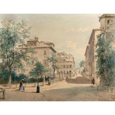 """Rumpf Philipp (1821-1896) German School """"characters In A City"""" Watercolor, Gouache, Signed"""