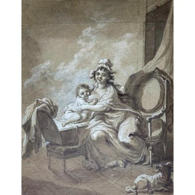 """French School 18th Century """"the Child At The Breast"""" Drawing/gray Wash,gouache,provenance,stamp"""