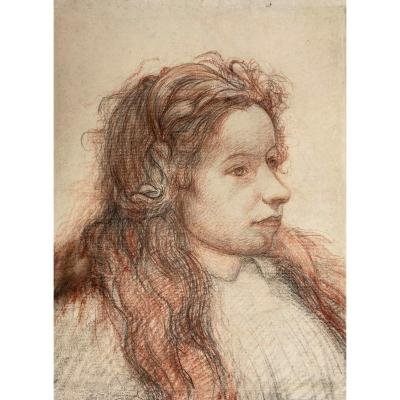 """Chadwick Francis Brook (1850-1943)american School""""young Woman""""drawing/pencil,red Chalk,signed"""