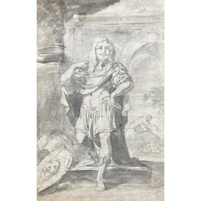 """Flemish School 17th Century """"character In Roman Outfit"""" Drawing/pen And Gray Wash"""