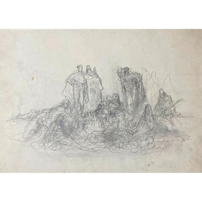 """Dore Gustave (1832-1883) """"characters"""" Drawing In Black Pencil, Provenance"""