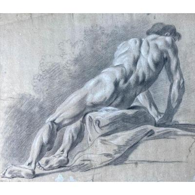 """French School 18th Century """"man Academy"""" Drawing / Black Chalk And White Chalk"""