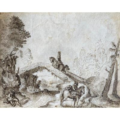 """Italian School Florence 17th Century """"character And Riders"""" Drawing / Pen On Vellum"""