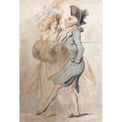 """Rowlandson Thomas (1756-1827) English School """"characters"""" Drawing In Watercolor"""