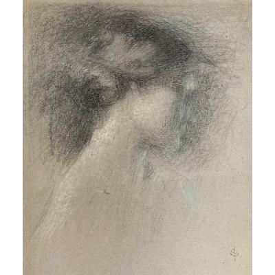 """Laurent Ernest (1859-1929)""""head Of A Woman In Profile"""" Drawing/black Pencil,pastel,signed/stamp"""
