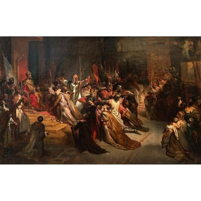 """Gallait Louis (1810-1887) """"the Coronation Of Baudoin Of Constantinople"""" Oil/canvas, 19th Frame"""