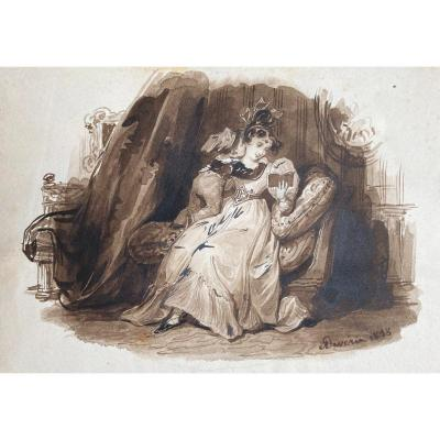"""Deveria Achille (1800-1857) """"woman Reading To A Child"""" Drawing/pen, Brown Wash, Signed"""
